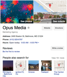 An example of Google Business Listing for Local SEO