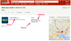 Example of a A local SEO Yelp NAP Listing