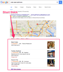 An example of Local SEO Short Stack